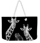 Our Wise Little Friend - Monkey And Giraffes In Black And White Weekender Tote Bag
