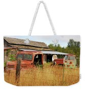 Out Of Gas. Rusty Trucks And Texaco Sign Weekender Tote Bag