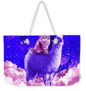 Outer Space Galaxy Kitty Cat Riding On Llama Weekender Tote Bag