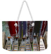 Outrigger Canoe Boats And Water Reflection Weekender Tote Bag by Ben and Raisa Gertsberg