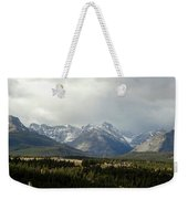 Over The Fence To Dusted Mountains Weekender Tote Bag