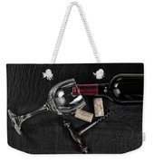 Overhead View Of Vintage Corkscrew With Red Wine Bottle And Glas Weekender Tote Bag