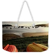 Overturned Boats On Shore Of Harbor Weekender Tote Bag