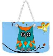 Owl And Birds - Whimsical Weekender Tote Bag