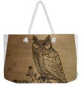 Owl Pyrography Weekender Tote Bag