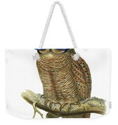 Owl Sitting On A Branch With Blue Glasses Weekender Tote Bag