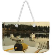 Owls Head Boats In The Snow Weekender Tote Bag
