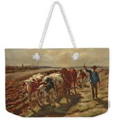 Oxen Plowing Weekender Tote Bag