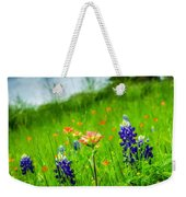 Paintbrush And Bonnets Square Weekender Tote Bag
