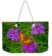 Painted Lady On Purple Verbena Weekender Tote Bag