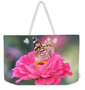 Painted Lady On Red Zinnia 3  Weekender Tote Bag