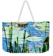 Painted North American White Water Lily Weekender Tote Bag