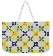 Painted Patterns - Floral Azulejo Tiles In Blue Green And Yellow Weekender Tote Bag