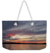 Painted Sunset On Gunflint Lake Weekender Tote Bag