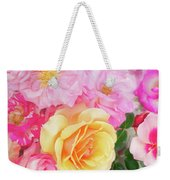 Painterly Tea Party With Fresh Garden Roses II Weekender Tote Bag