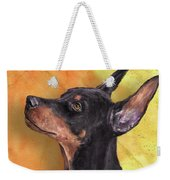 Painting Of A Cute Doberman Pinscher On Orange Background Weekender Tote Bag