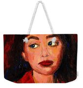Painting Of A Dark Haired Girl Commissioned Art Weekender Tote Bag