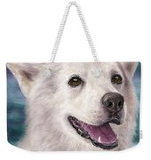 Painting Of A White And Furry Alaskan Malamute Weekender Tote Bag