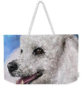 Painting Of A White Fluffy Poodle Smiling Weekender Tote Bag
