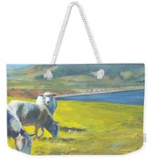 Painting Of Sheep On A Cliff Top Weekender Tote Bag