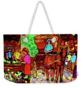 Paintings Of Montreal Streets Old Montreal With Flower Cart And Caleche By Artist Carole Spandau Weekender Tote Bag