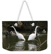 Pair Of Egrets Weekender Tote Bag by George Randy Bass