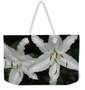 Pair Of Flowering White Stargazer Lilies In Bloom Weekender Tote Bag