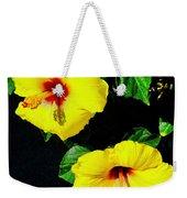 Pair Of Golden Hibiscus In Morning Sun Weekender Tote Bag