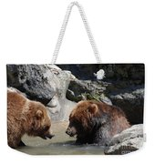 Pair Of Grizzly Bears Wading In A Shallow River Weekender Tote Bag