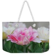 Pale Pink And White Parrot Tulips In A Garden Weekender Tote Bag