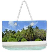 Palm Trees And Exotic Vegetation On The Beach Of An Island In Maldives Weekender Tote Bag