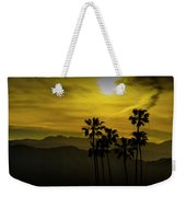 Palm Trees At Sunset With Mountains In California Weekender Tote Bag