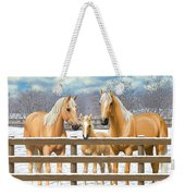 Palomino Quarter Horses In Snow Weekender Tote Bag by Crista Forest