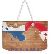 Panama Rustic Map On Wood Weekender Tote Bag