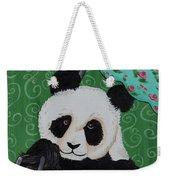Panda In The Rain Weekender Tote Bag