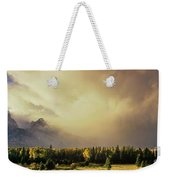 Panorama Clearing Storm Over The Grand Tetons Weekender Tote Bag