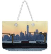 Panorama New York City Skyline With Passing Container Ship Weekender Tote Bag