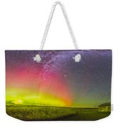 Panorama Of An Aurora And The Milky Way Weekender Tote Bag