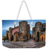 Panorama Of Ancient Roman Gate And Placa Nova In The Morning, Ba Weekender Tote Bag