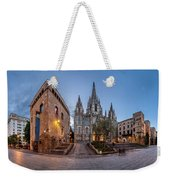 Panorama Of Cathedral Of The Holy Cross And Saint Eulalia In The Weekender Tote Bag