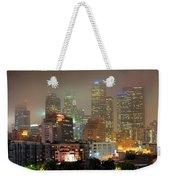 Panorama Of Downtown Los Angeles In The Fog Weekender Tote Bag