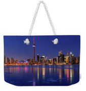 Panorama Of Frozen Ice Covered Lake Ontario Reflecting The Light Weekender Tote Bag