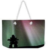 Panoramic Inukshuk Northern Lights Weekender Tote Bag