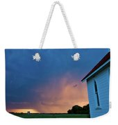 Panoramic Lightning Storm And Church Weekender Tote Bag