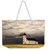 Panoramic Lightning Storm And Prairie Church Weekender Tote Bag