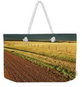 Panoramic Prairie Storm Canada At Sunset Weekender Tote Bag