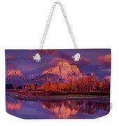Panoramic Sunrise Oxbow Bend Grand Tetons National Park Weekender Tote Bag