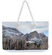 Panoramic View Of Snowed Peaks In Yosemite Park With Snow On The Weekender Tote Bag