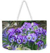 Pansey Flowers And Swirls  Weekender Tote Bag
