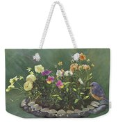 Pansies And Bluebird Weekender Tote Bag